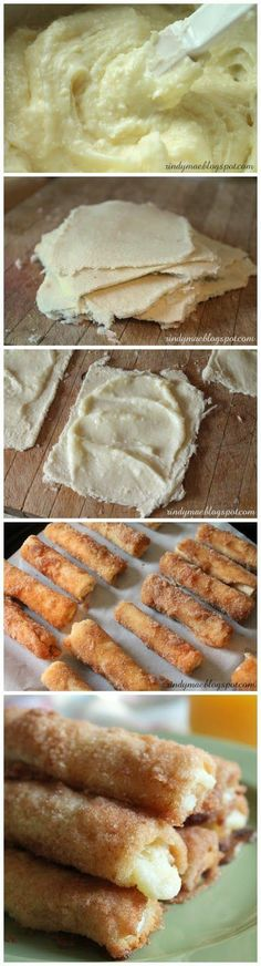 Cinnamon Cream Cheese Rollups…just white bread, crusts removed flattened, spread w sweetened cream cheese, rolled jelly roll style, then dipped in cinnamon sugar baked until crispy crunchy cream cheese is hot oozing. Delicious finger food for a brunch or shower..