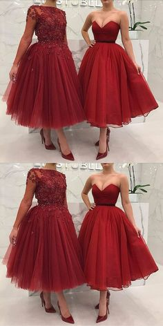 Fashion A-Line Sweetheart/Bateau Burgundy Long Prom Dress #beautydresses