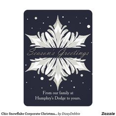 chic snowflake corporate christmas card - Corporate Greeting Cards