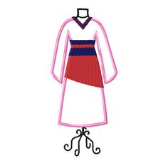 Mulan Dress Form embroidery applique fill design by stitchtastical, $3.50