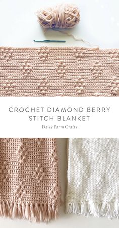Free Pattern - Crochet Diamond Berry Stitch Blanket #crochet