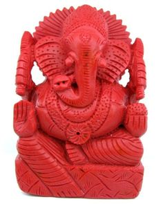 5820CT GANESHA Statue Red Coral Carved Religious Prosperity Luck + Free Pearls