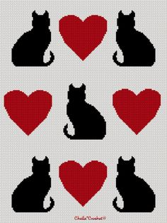 Cats & Hearts Silhouette Afghan Crochet Pattern Graph