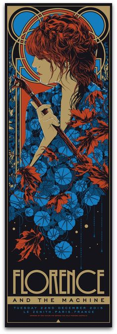 'Florence & The Machine at Le Zenith, Paris. France, December 22 by Ken Taylor, is a new print release from Beyond The Pale. It's a x 5 colour silkscreen print with Metallic Gold ink, in. Rock Posters, Band Posters, Concert Posters, Florence The Machines, Florence Welch, Art Nouveau, Rhys Cooper, Ken Taylor, Jugendstil Design