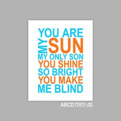 Baby Boy nursery Quote print You are my Sun 8x10 by MiraDoson, $12.00