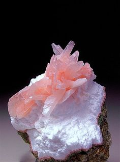 "Heulandite crystals on a bed of mordanite from India the specimen is 1"" across /  Mineral Friends <3"