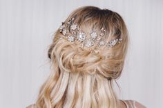 Silver Swarovski crystal flower wedding hairvine - Small Sybil - Debbie Carlisle