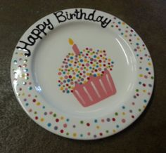 "Ready to Ship - 9"" Hand Painted Ceramic ""Happy Birthday"" Plate - Pink Sprinkle design on Etsy, $16.00"