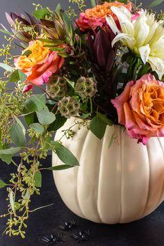 Halloween DIY decorations - Make a reusable, faux pumpkin planter/vase, blood-drip candle, and flock of bats
