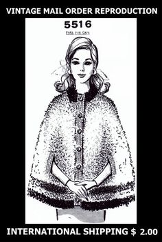 5516 Vint 60's Mail Order Design Womens CROCHET FAKE FUR CAPE Crocheting Pattern #PATTERNPEDDLER5516