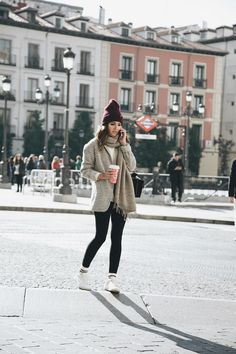HOW TO WEAR LEGGINGS WITH STYLE - Lovely Pepa by Alexandra. White sweater+black leggins+white socks+white sneakers+grey melange jacket+beige scarf+burgundy beanie. Fall Casual Outfit 2016