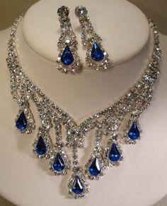 Vintage 70's Blue Crystal Glass Rhinestone Bead Drop Bib Necklace Earring Set | eBay Sold for $ 139