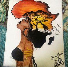 New Black Art Painting Love African Americans Natural Ideas Black Art Painting, Black Artwork, Black Love Art, Black Girl Art, Afrika Tattoos, Tattoos Of Africa, African Art Paintings, African Drawings, Afrique Art
