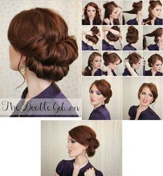 Easy Edwardian Hairstyles Step By Step - double gibson 30s Hairstyles, Edwardian Hairstyles, Holiday Hairstyles, Wedding Hairstyles, Chignon Hair, Short Hair Updo, Short Hair Styles, Updo Tutorial, 1920s Hair Tutorial