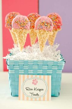 rice crispy treats, cut out like ice cream cones. Dipped in white chocolate with sprinkles. DARLING party favor!
