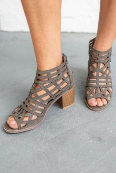 a5a0fd22d0 Late Arrival Olive Caged Heels - Amazing Lace Caged Heels, Peep Toe Heels,  Stitch