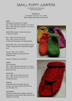 Knitted Poppy Free Pattern, Crochet Dog Sweater Free Pattern, Beanie Knitting Patterns Free, Beginner Knitting Patterns, Knit Dog Sweater, Small Dog Coats, Small Dog Sweaters, Dog Jumpers, Dog Clothes Patterns