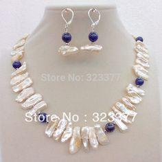Envío gratis! 45 CM diente en forma de perlas de agua dulce blanco y Lapis Lazuli de la joyería con Sterling Silver Earring ganchos
