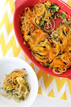 This Bacon Brussels Sprouts Potato Noodle Casserole is a best for your dessert made with awesome ingredients! Veggetti Recipes, Spiralizer Recipes, Potato Noodles, Veggie Noodles, Healthy Food Blogs, Healthy Eating, Paleo Recipes, Cooking Recipes, Simple Recipes
