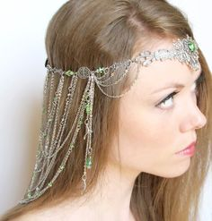 A hand crafted headdress in the style of Arwen's head piece worn during Aragorn's crowning ceremony.