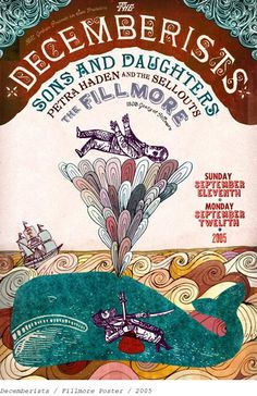The Decemberists. Design and Illustration by Grady McFerrin (for the Fillmore Theatre). Rock Posters, Band Posters, Concert Posters, Music Posters, Gig Poster, Hippie Posters, The Decemberists, Illustration Photo, Graffiti