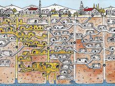 Схема подземного города в Турции
