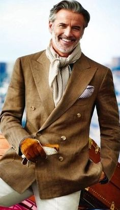 Double-Breasted Suit Jacket, White Pants, Scarf | Men's Casual Outfit for Fall/Winter | www.designerclothingfans.com