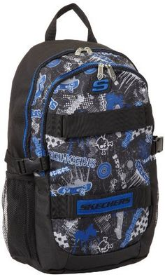 Skechers Boys 8-20 All Over Print Skate-Off, Black/Grey/Blue, 0 Skechers. $8.47. Made in China. Hand Wash. 100% polyester. Allover print front panel. Front velcro straps for skateboard storage-skateboard not included