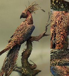Burning Pheasant - original handmade OOAK clay art sculpture (creaturesfromel on Etsy)