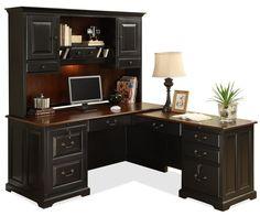 Bridgeport L-Shape Computer Workstation Desk with Hutch by Riverside Furniture - Wolf Furniture - L-Shape Desk Pennsylvania, Maryland