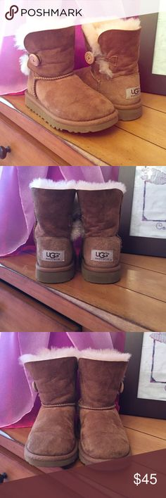 UGG kids Bailey button *Authentic* Chestnut Bailey Button UGG boots, worn only a few times.  Great for those cold winter days!! UGG Shoes Boots