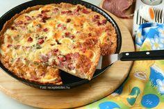 Hozzávalók a tésztához: 1 közepes (12 dkg) burgonya, só, 2 dl (12-13 dkg) finomliszt, a fele Graham-liszt is lehet, 1 kiskanál sütőpor, 7 dkg vaj vagy sütőmargarin, kb. 0,7 dl víz a forma kikenéséhez: vaj vagy sütőmargarin a tetejére: 25-30 dkg ...