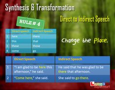 Changing from Direct to Indirect speech - Rule # 4 Direct And Indirect Speech, Speech Rules, Reported Speech, He Said That, Come And Go, English Grammar, Sayings, Esl, Homework