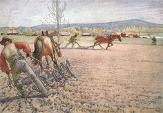 'Harrowing the Field' - Carl Larsson | watercolour