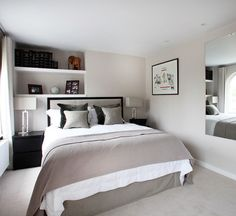 white small teen boy bedroom ideas 2 lampshades on black nightstand wall bookshelves rectangle wall mirror