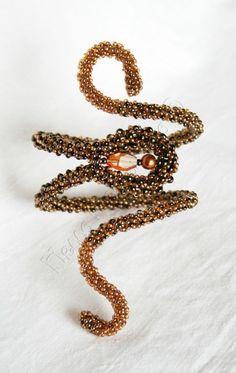 """Купить браслет """"Золото гномов"""" - золото, браслет, оригинальный браслет, бисер, кристаллы сваровски (swarovski)"""