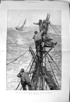 1892 Frank Brangwyn Fine Art Rigging Sea Ship Stormy