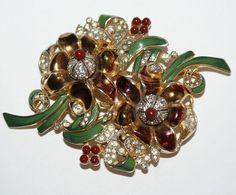 Coro Floral Enamel Rhinestone Duette Pin 1930's from luminousbijoux on Ruby Lane
