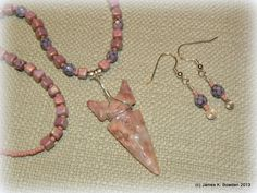 Pink and Lavender Goldfield Jasper Arrowhead Necklace with matching Earrings flintknapped and created by James K. Bowden. http://www.Flintknappers.com/gallery/past2present    #jewelry #arrowhead #necklace #earrings #Indian #NativeAmerican
