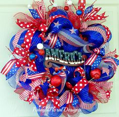 America Patriotic Wreath Red White Blue by PataylaFloralDesigns
