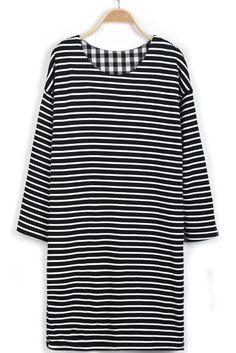 Black+White+Striped+Long+Sleeve+Loose+Dress+US$31.97