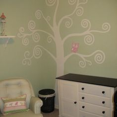 Girl owl room...Love the details on the wall.