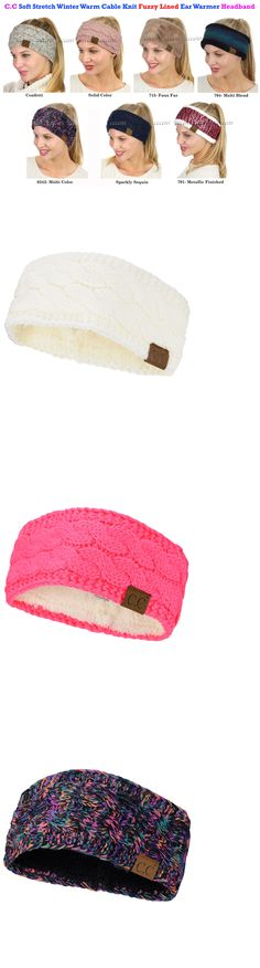 a80d8ff75ea47d Hats 45230: C.C Soft Stretch Winter Warm Cable Knit Fuzzy Lined Ear Warmer  Cc Headband