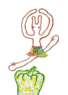 A Ballet Bunny and A Green Pepper (Print), rabbit print, children art, animal print, nursery decor, reproduction, bunny illustration, animal