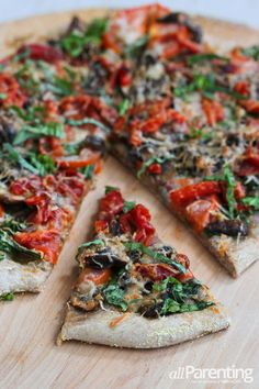 Vegetarian pizza with mushrooms and roasted peppers | allParenting.com #vegetarian #MeatlessMonday