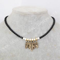 1Pcs Gold & Silver Plated Vintage Leaf Shapped Choker Necklace With 4mm Black Beaded Chain Handmade Brass Metal Making Jewelry Boho Necklace by Druzyworld on Etsy