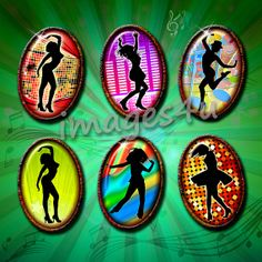 Dancing Silhouettes (7) 25 oval images 30x40mm, 22x30mm, 18x25mm, 13x18mm for resin pendants,jewelry, bottlecaps, hang tags, paper crafts...
