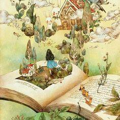 책 속의 세상(a world inside the book) by 애뽈 on art - illustration Art And Illustration, Fantasy Magic, Fantasy Art, Fantasy Story, I Love Books, Books To Read, Forest Girl, Reading Art, World Of Books