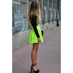 Neon skirt, black lace top, ombre high lights - Love it