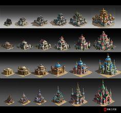 4 civilizations building level up design, Dawnpu at Art vision studio on ArtStation at https://www.artstation.com/artwork/02YYw